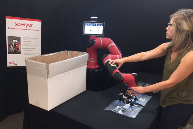 MSI Tec Applications Engineer Laurie Fisk trains Sawyer the robot on a customer proof-of-concept demonstration for the medical industry.
